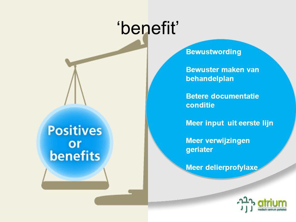 'benefit' Bewustwording Bewuster maken van behandelplan