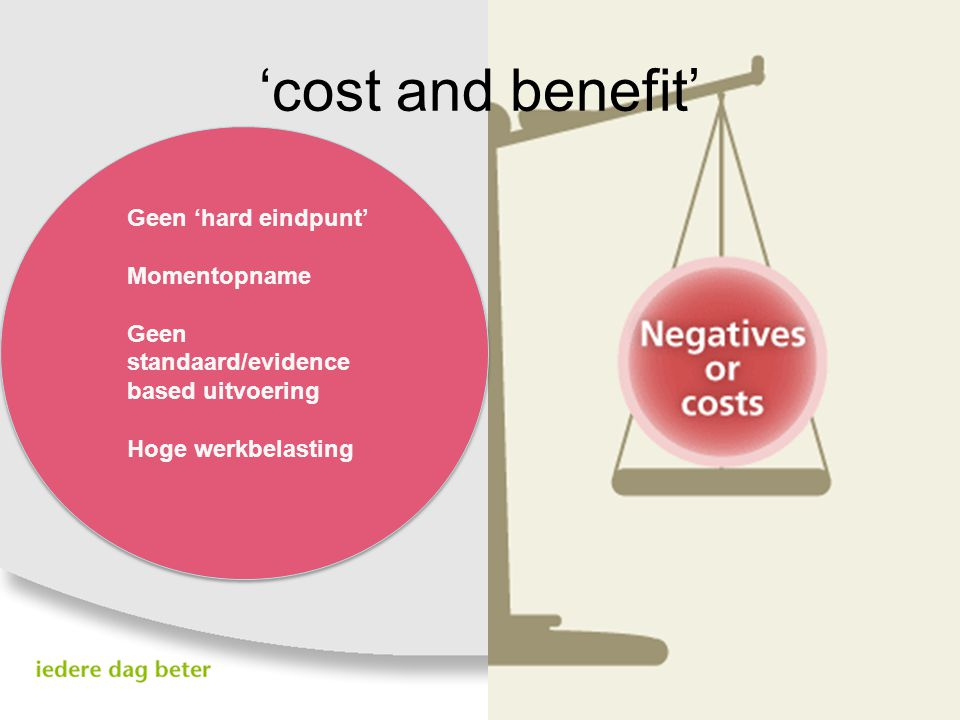 'cost and benefit' Geen 'hard eindpunt' Momentopname