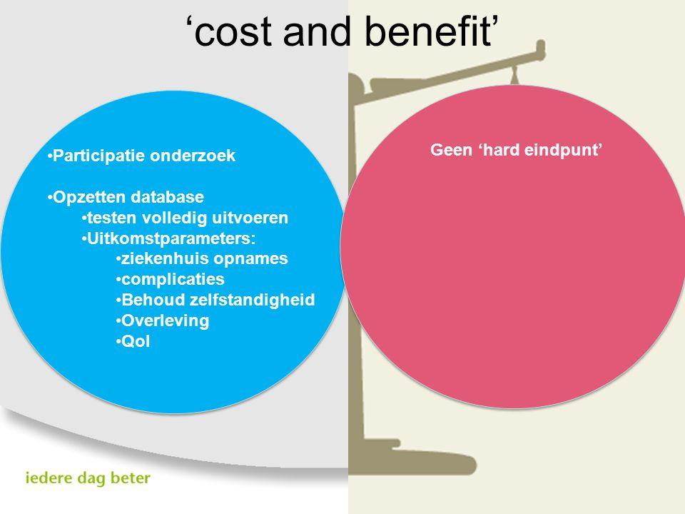 'cost and benefit' Geen 'hard eindpunt' Participatie onderzoek