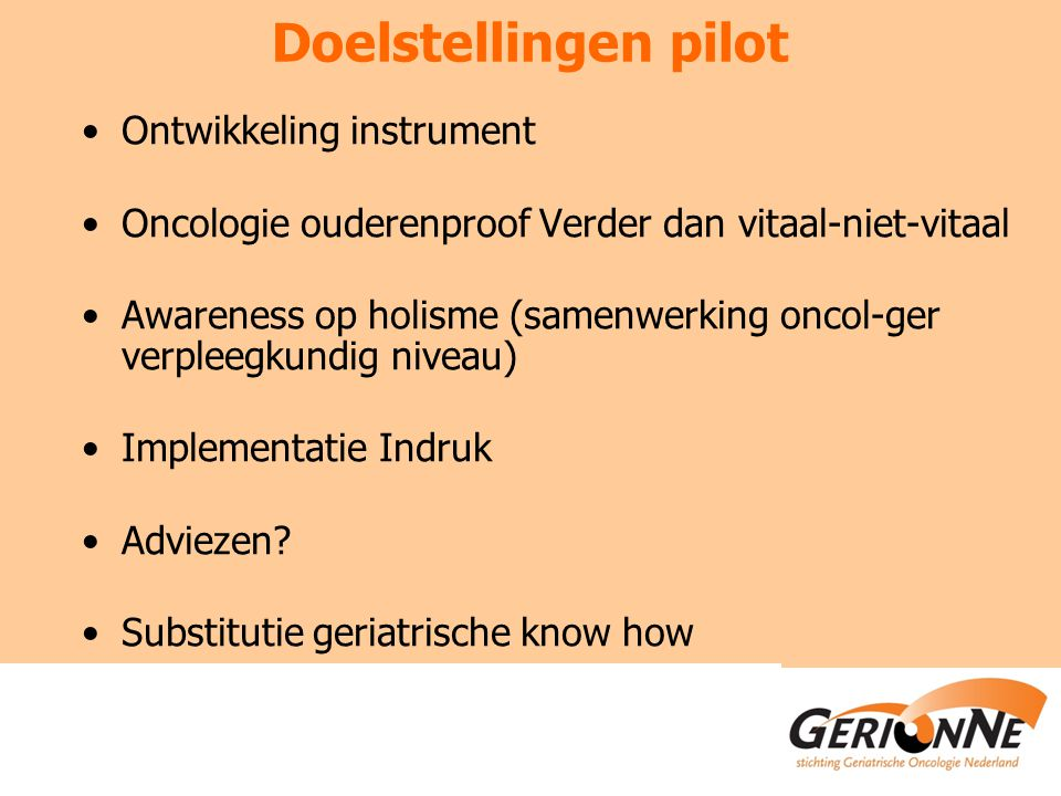 Doelstellingen pilot Ontwikkeling instrument