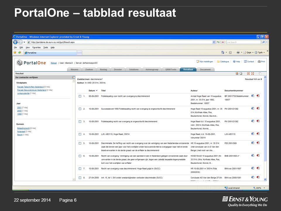 PortalOne – tabblad resultaat
