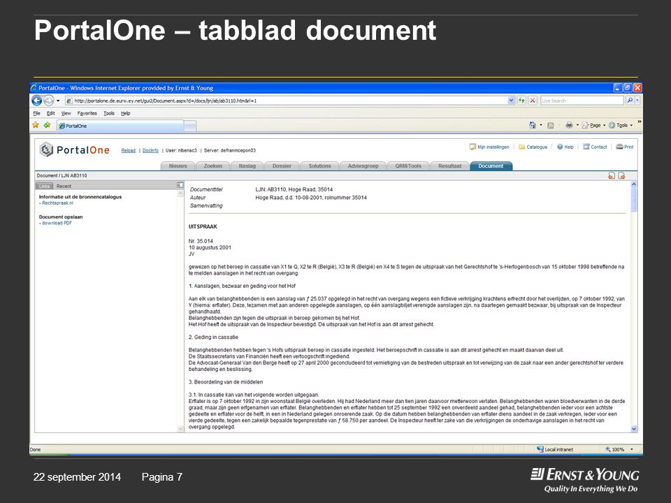 PortalOne – tabblad document