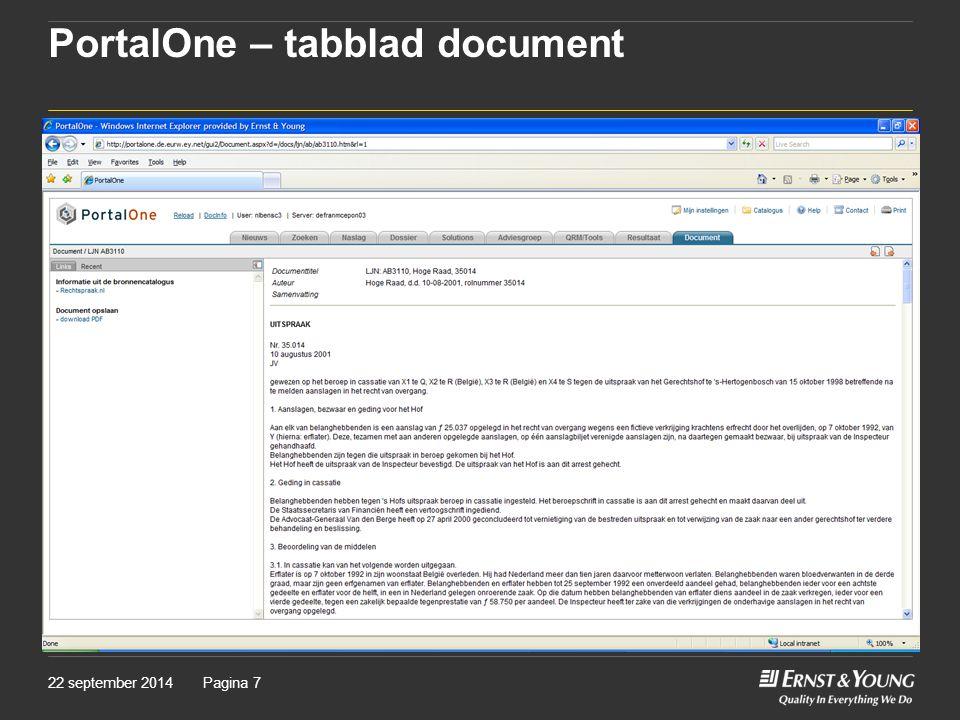 PortalOne – tabblad document