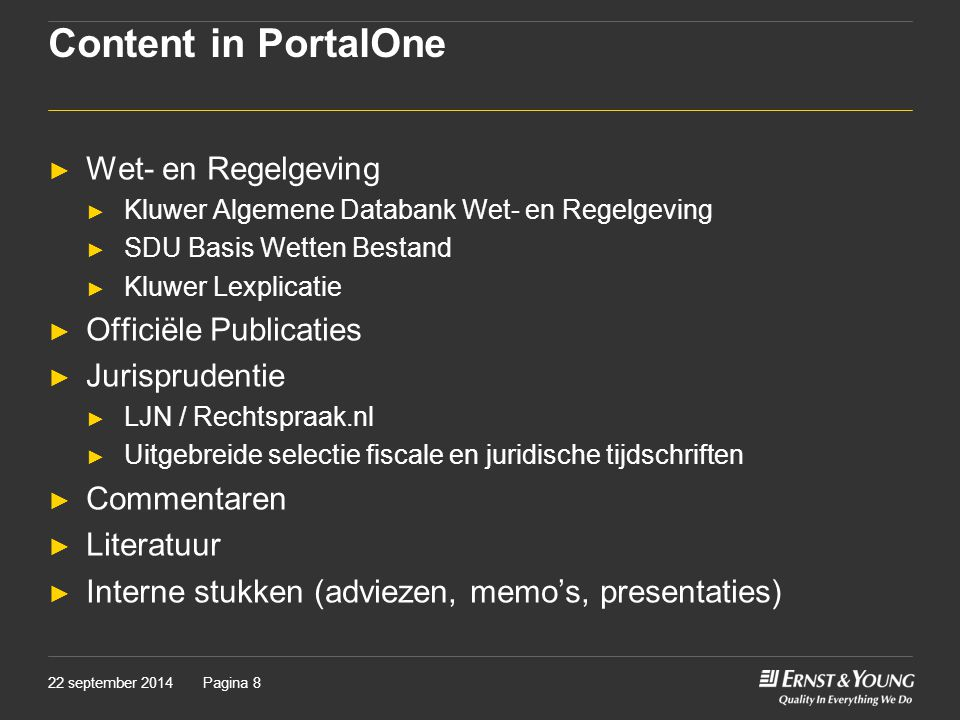 Content in PortalOne Wet- en Regelgeving Officiële Publicaties