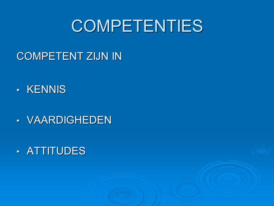 COMPETENTIES COMPETENT ZIJN IN KENNIS VAARDIGHEDEN ATTITUDES