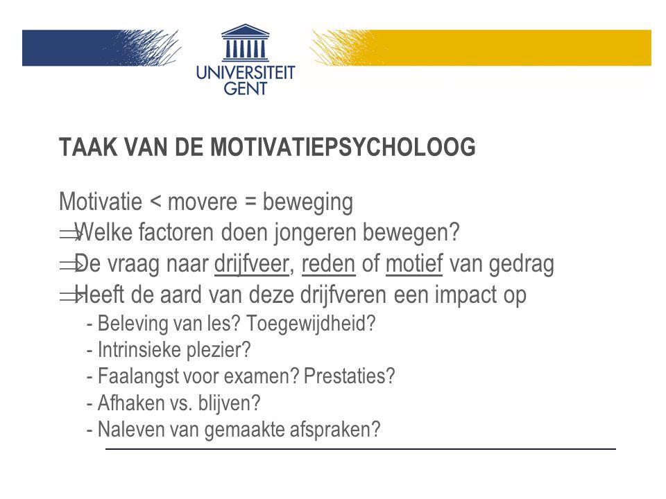 TAAK VAN DE MOTIVATIEPSYCHOLOOG