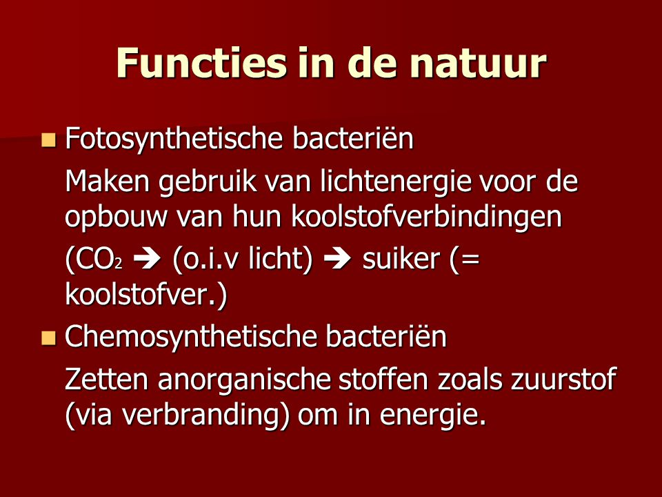 Functies in de natuur Fotosynthetische bacteriën