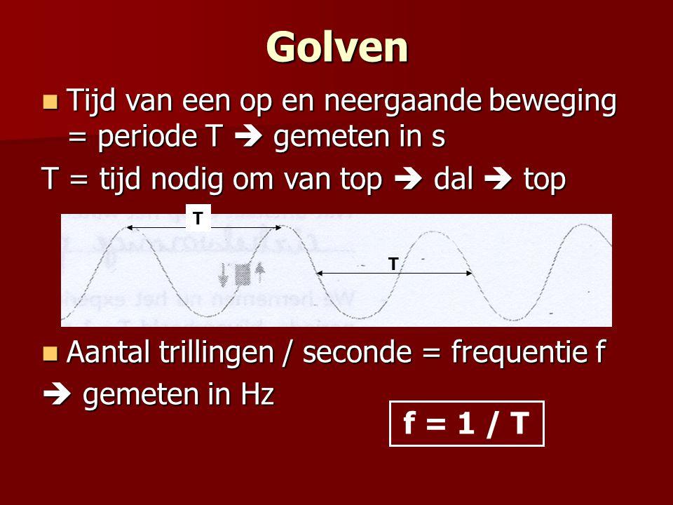 Golven Tijd van een op en neergaande beweging = periode T  gemeten in s. T = tijd nodig om van top  dal  top.