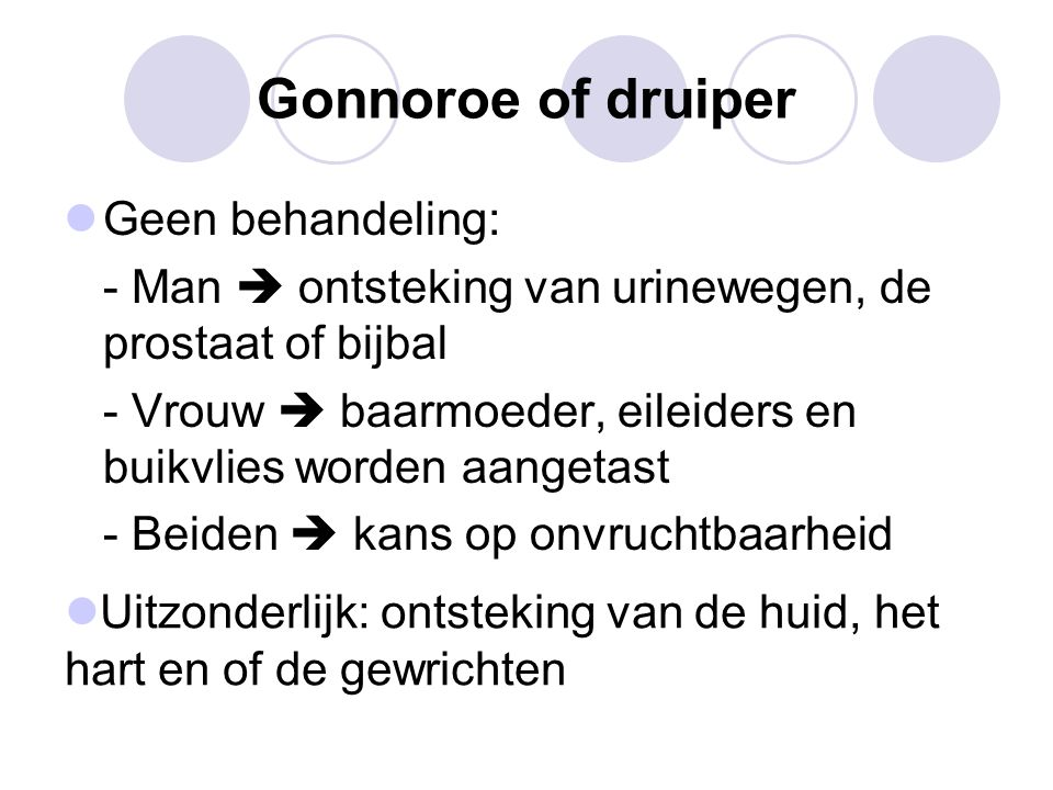 Gonnoroe of druiper Geen behandeling: