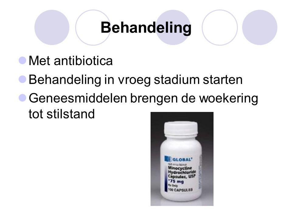 Behandeling Met antibiotica Behandeling in vroeg stadium starten