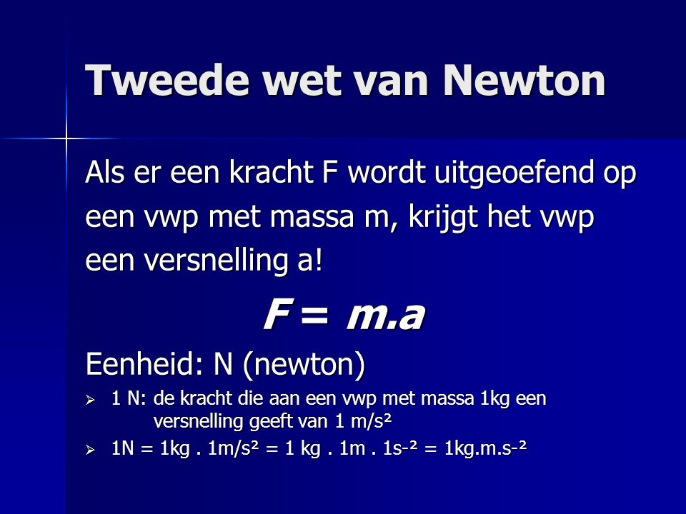Tweede wet van Newton Als er een kracht F wordt uitgeoefend op