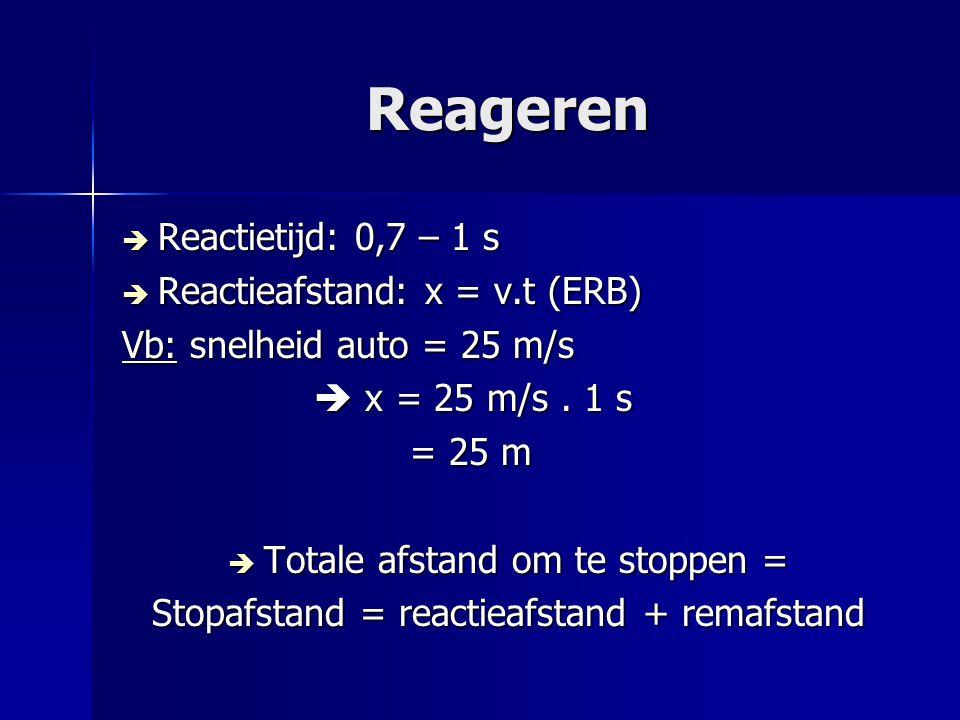 Reageren Reactietijd: 0,7 – 1 s Reactieafstand: x = v.t (ERB)