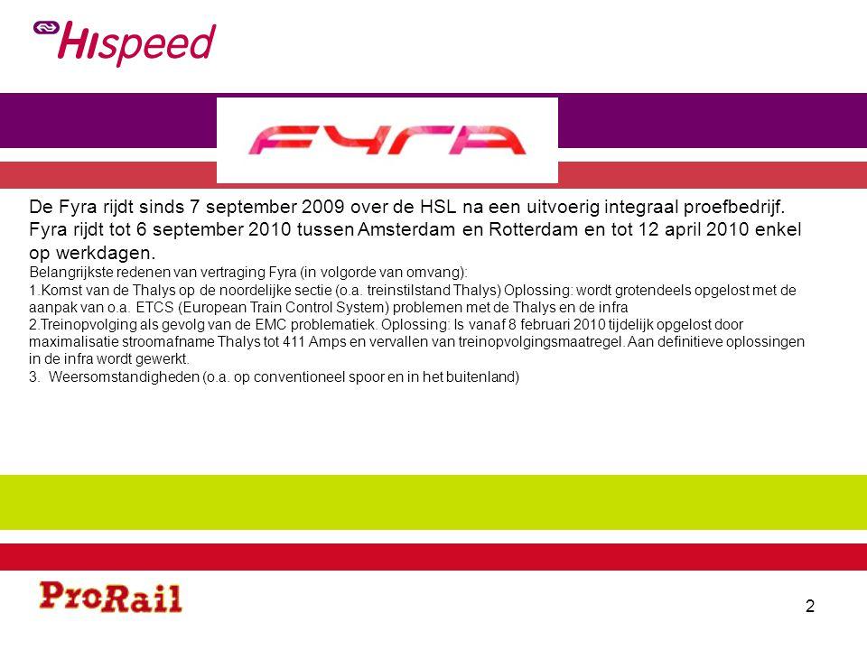 De Fyra rijdt sinds 7 september 2009 over de HSL na een uitvoerig integraal proefbedrijf. Fyra rijdt tot 6 september 2010 tussen Amsterdam en Rotterdam en tot 12 april 2010 enkel op werkdagen.