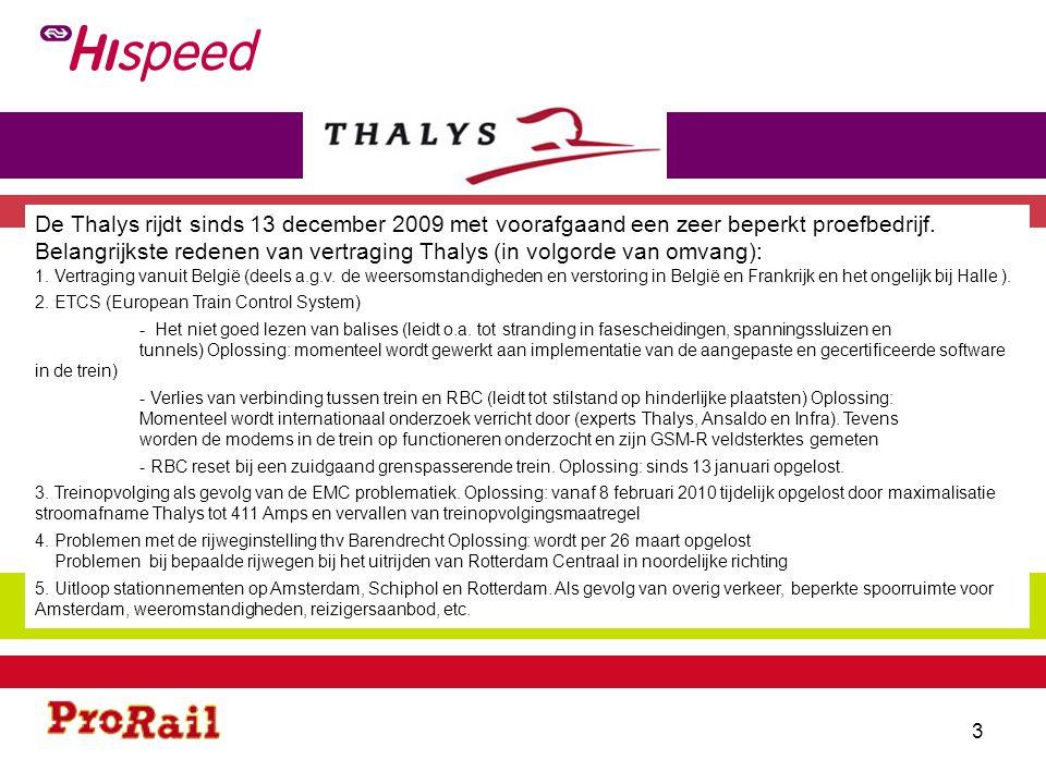 Belangrijkste redenen van vertraging Thalys (in volgorde van omvang):