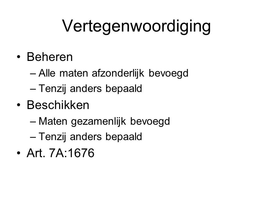 Vertegenwoordiging Beheren Beschikken Art. 7A:1676