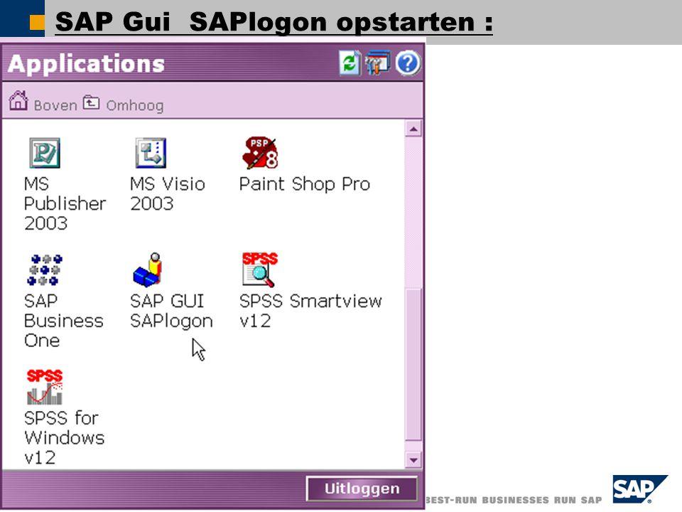SAP Gui SAPlogon opstarten :