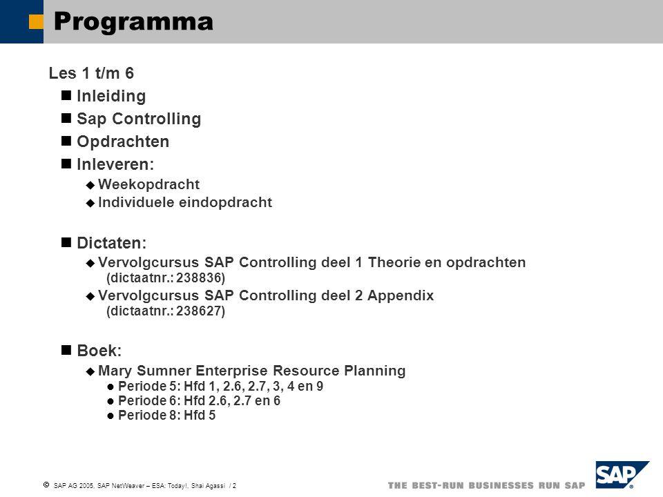 Programma Les 1 t/m 6 Inleiding Sap Controlling Opdrachten Inleveren: