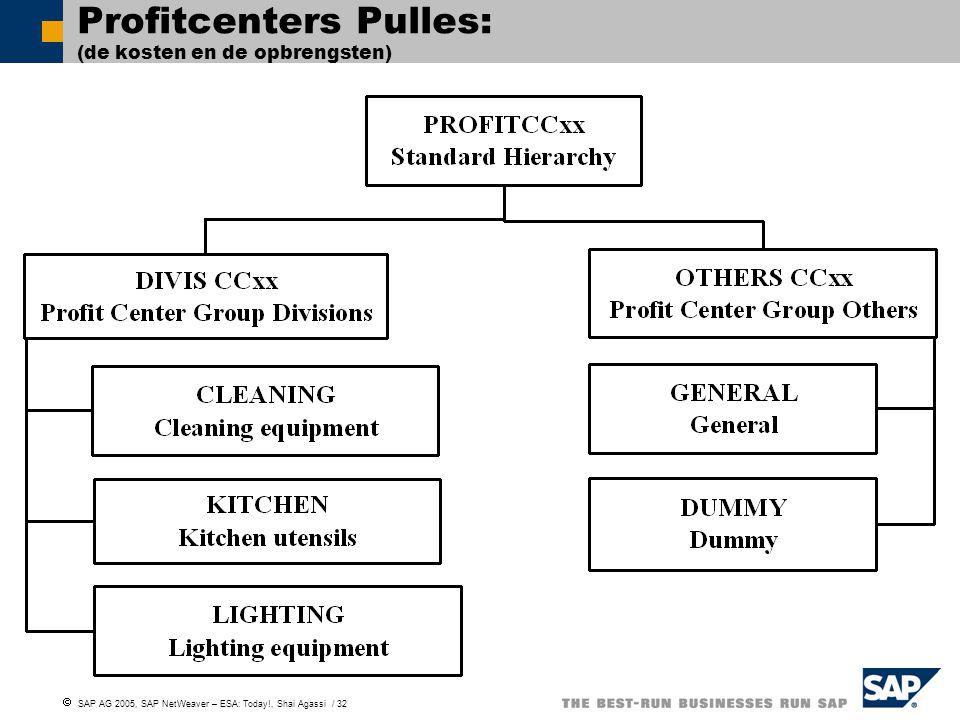 Profitcenters Pulles: (de kosten en de opbrengsten)