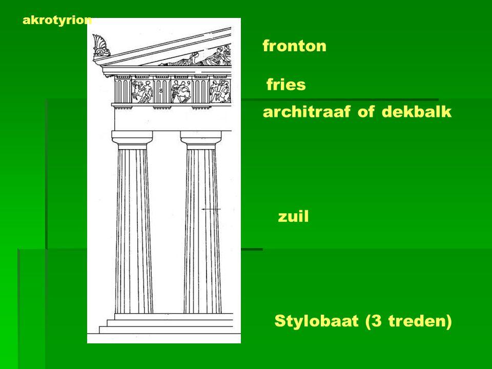 fronton fries architraaf of dekbalk zuil Stylobaat (3 treden)