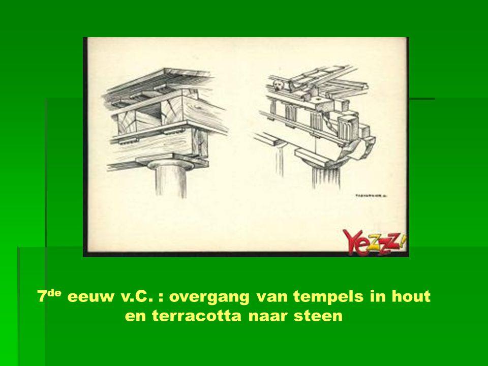 7de eeuw v.C. : overgang van tempels in hout en terracotta naar steen
