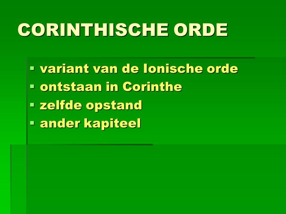 CORINTHISCHE ORDE variant van de Ionische orde ontstaan in Corinthe