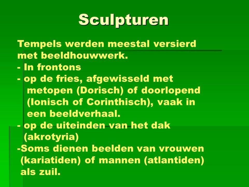 Sculpturen Tempels werden meestal versierd met beeldhouwwerk.