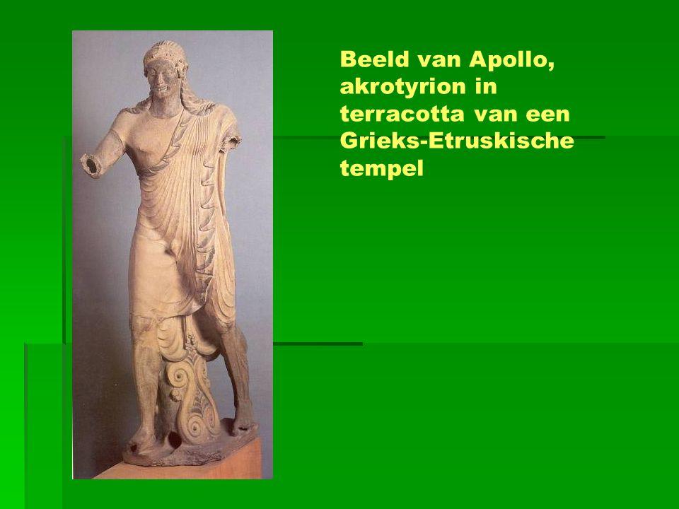 Beeld van Apollo, akrotyrion in terracotta van een Grieks-Etruskische tempel