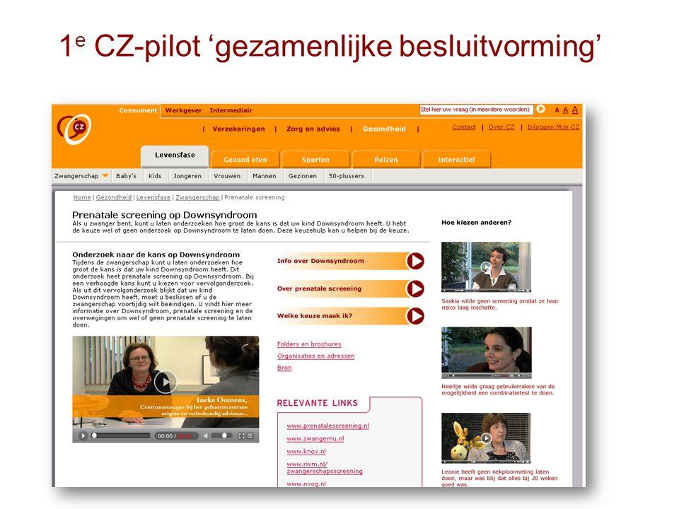 1e CZ-pilot 'gezamenlijke besluitvorming'