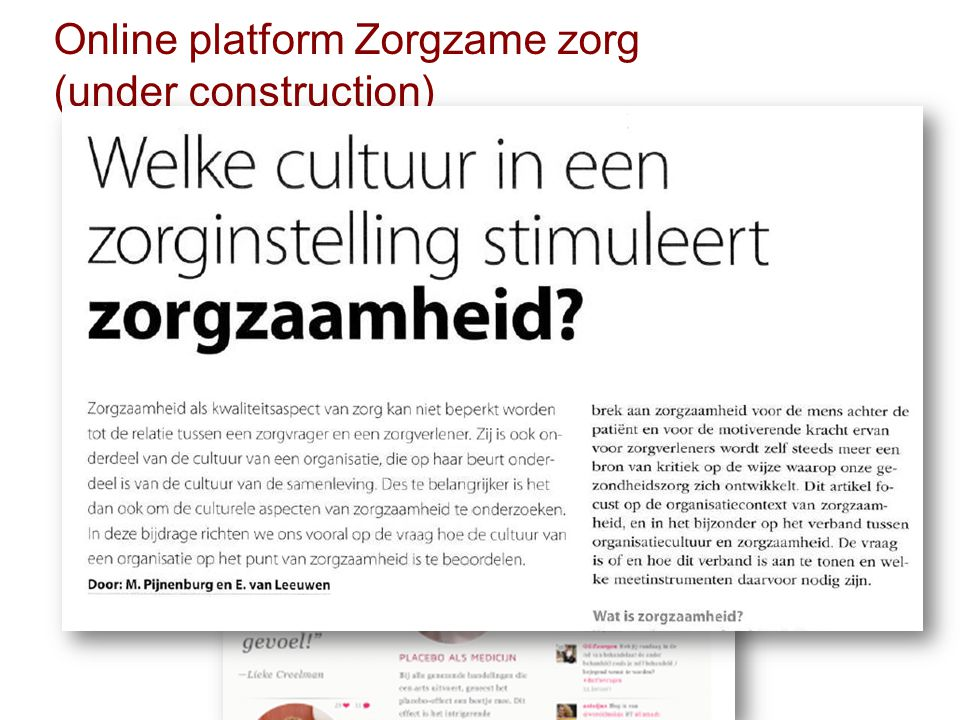 Online platform Zorgzame zorg (under construction)