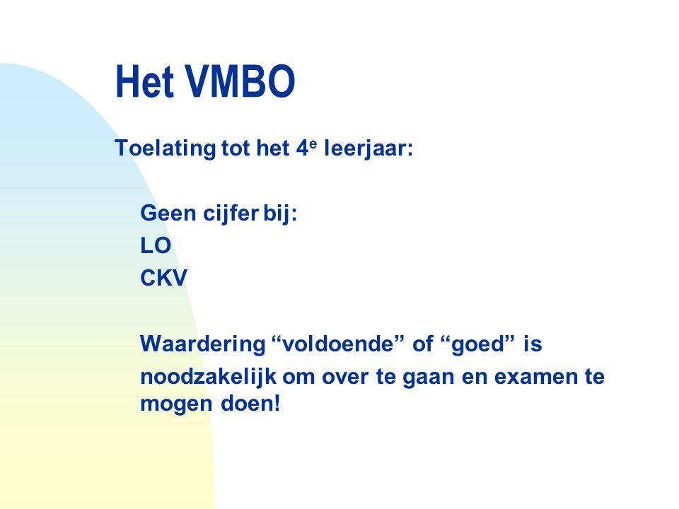Het VMBO Toelating tot het 4e leerjaar: Geen cijfer bij: LO CKV