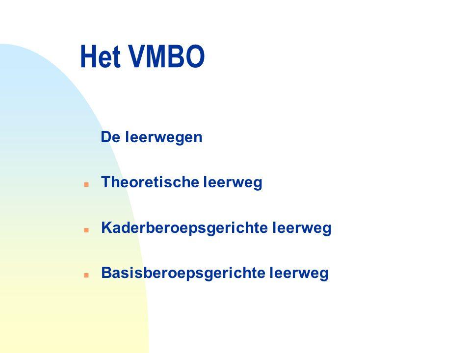 Het VMBO De leerwegen Theoretische leerweg