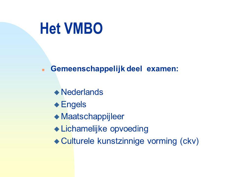 Het VMBO Nederlands Engels Maatschappijleer Lichamelijke opvoeding