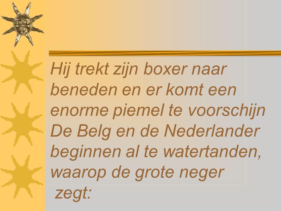 Hij trekt zijn boxer naar beneden en er komt een enorme piemel te voorschijn De Belg en de Nederlander beginnen al te watertanden, waarop de grote neger zegt: