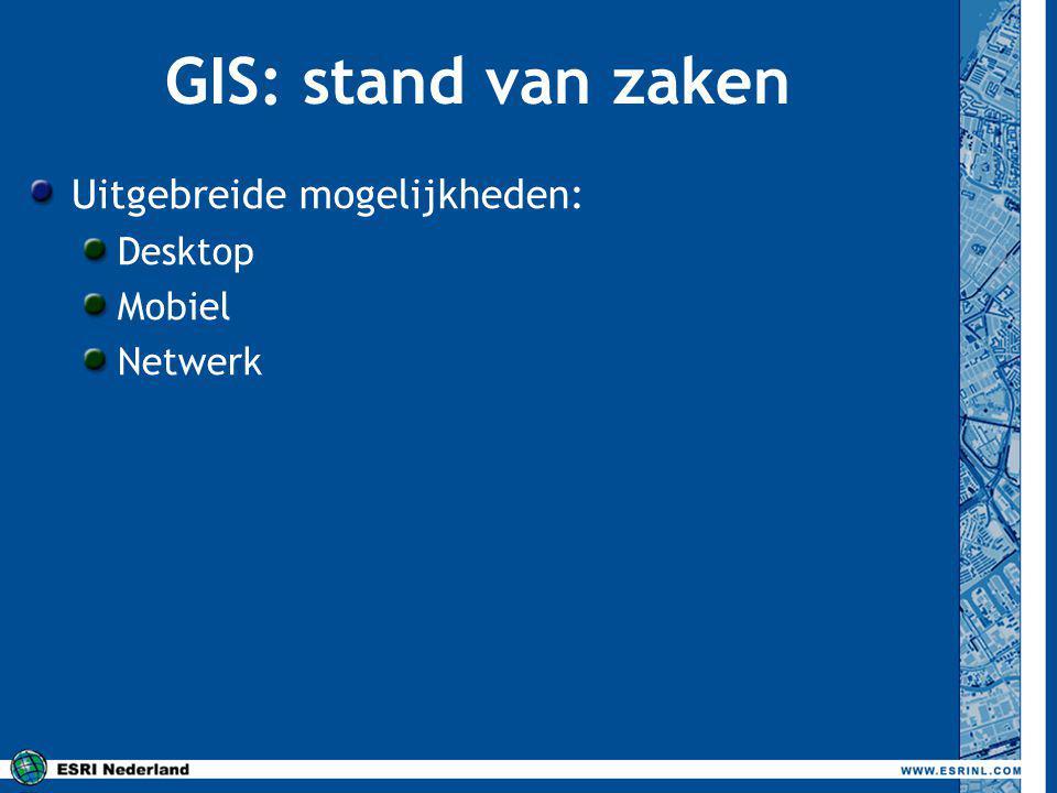 GIS: stand van zaken Uitgebreide mogelijkheden: Desktop Mobiel Netwerk