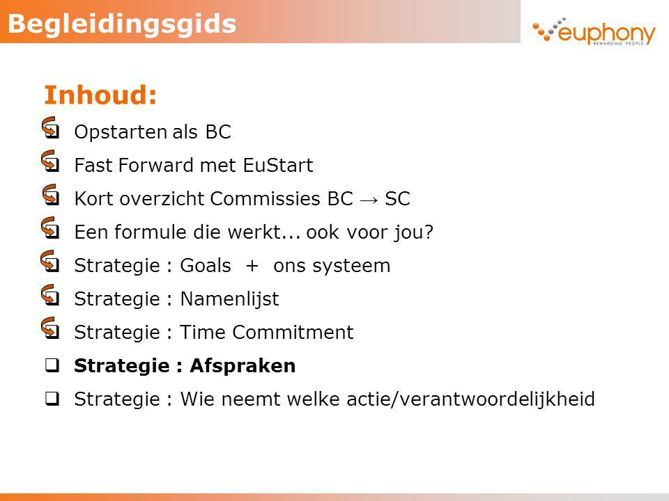 Begleidingsgids Inhoud: Opstarten als BC Fast Forward met EuStart