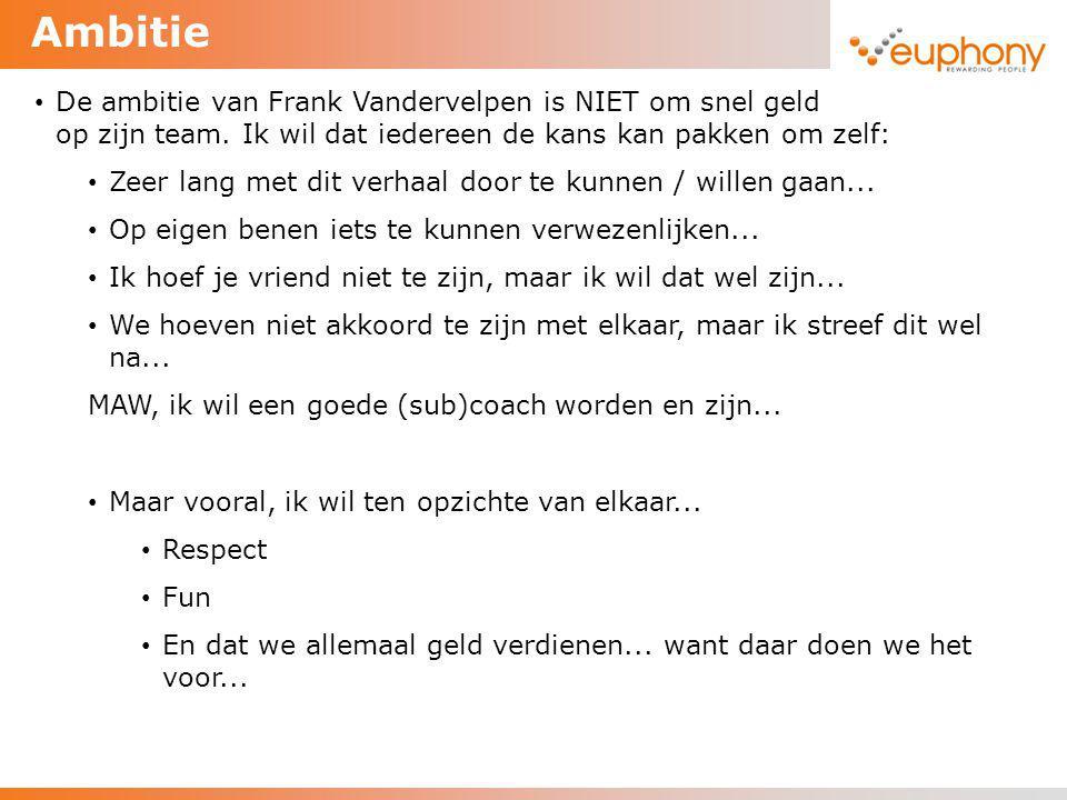 Ambitie De ambitie van Frank Vandervelpen is NIET om snel geld te verdienen op zijn team. Ik wil dat iedereen de kans kan pakken om zelf: