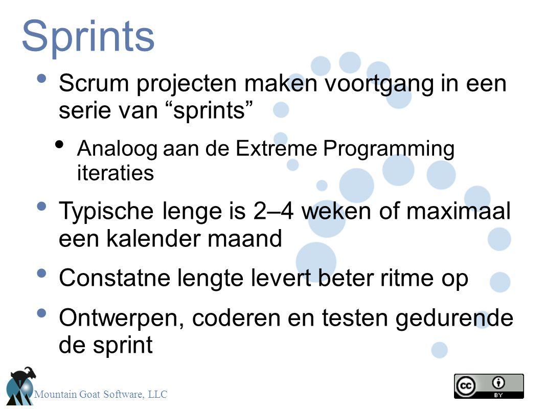 Sprints Scrum projecten maken voortgang in een serie van sprints