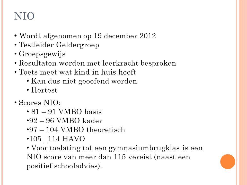 NIO Wordt afgenomen op 19 december 2012 Testleider Geldergroep