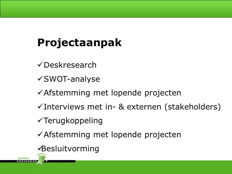 Projectaanpak Onderscheiden - 4 Deskresearch SWOT-analyse