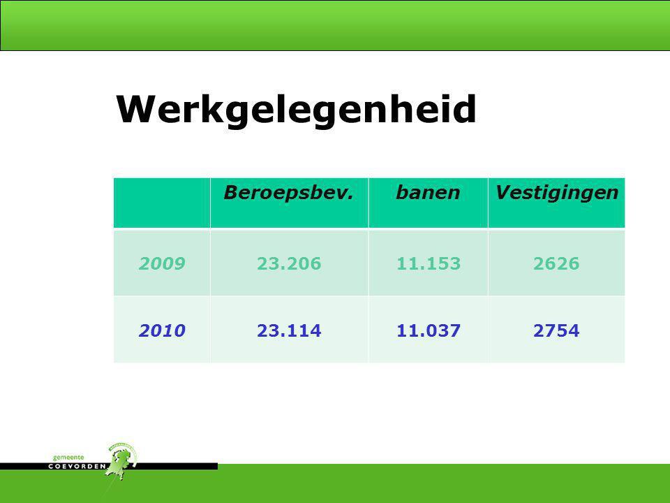 Werkgelegenheid Onderscheiden - 4 Beroepsbev. banen Vestigingen 2009