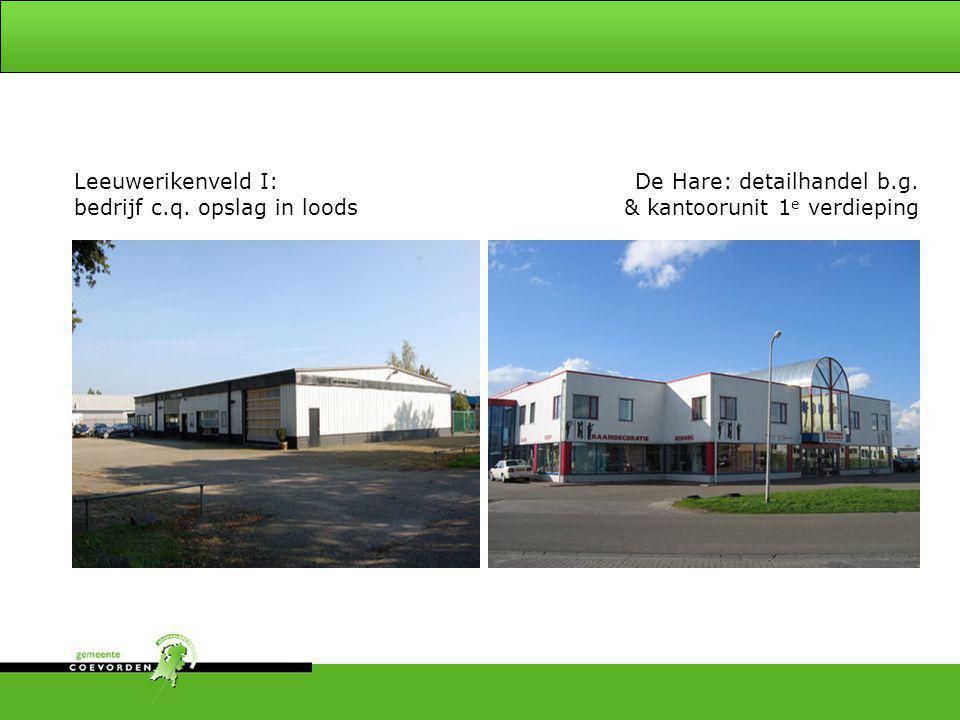Leeuwerikenveld I: bedrijf c.q. opslag in loods. De Hare: detailhandel b.g.