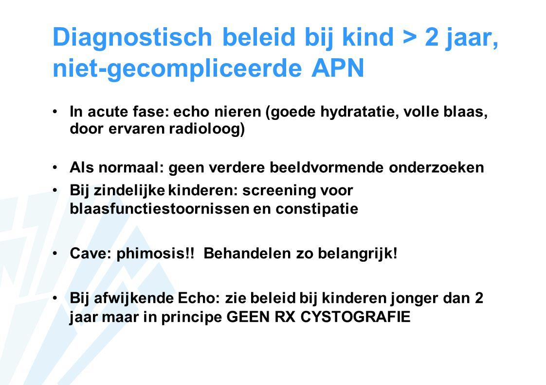 Diagnostisch beleid bij kind > 2 jaar, niet-gecompliceerde APN