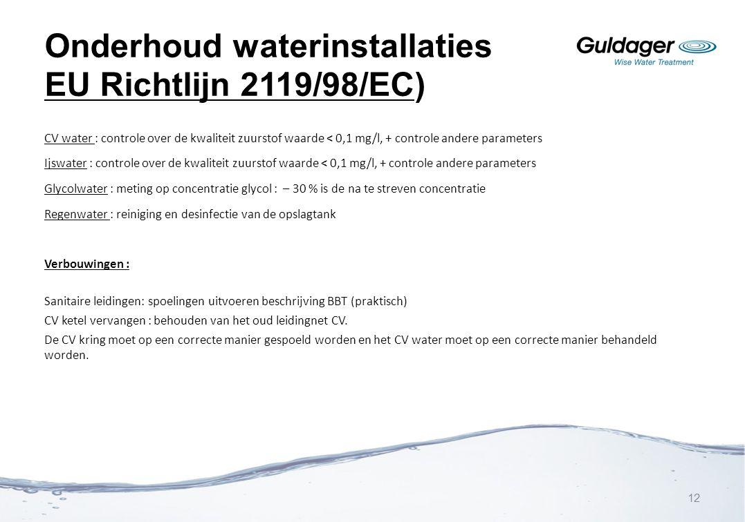 Onderhoud waterinstallaties EU Richtlijn 2119/98/EC)