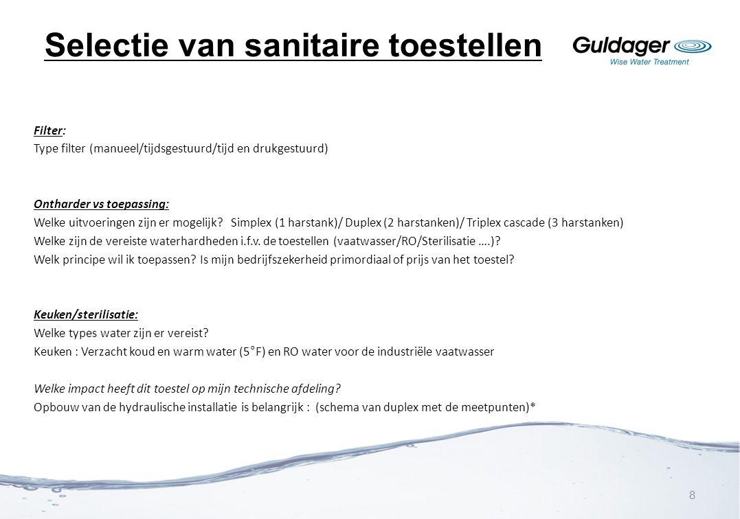 Selectie van sanitaire toestellen