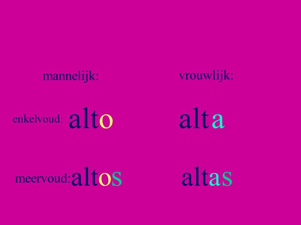 mannelijk: vrouwlijk: alto alt a enkelvoud: s s alto alta meervoud: