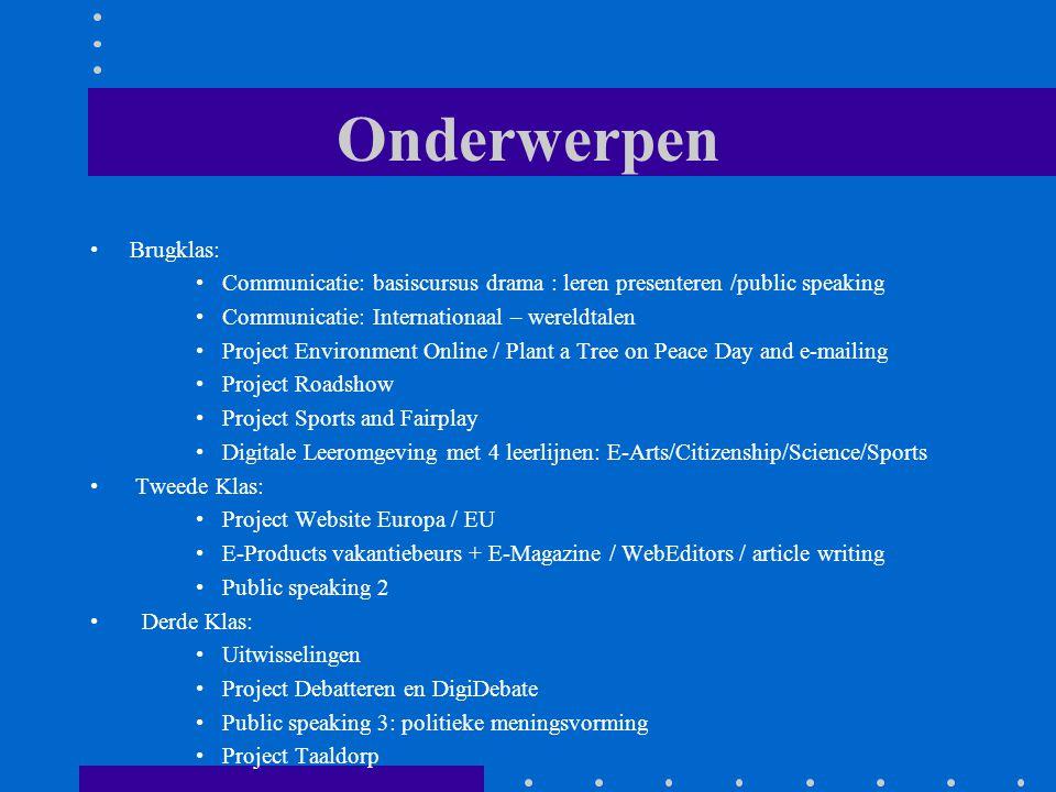 Onderwerpen Brugklas: