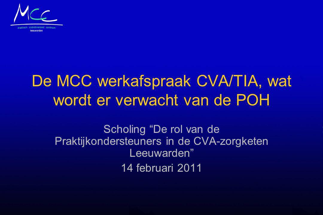 De MCC werkafspraak CVA/TIA, wat wordt er verwacht van de POH