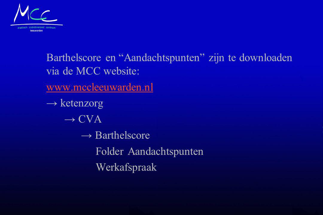 Barthelscore en Aandachtspunten zijn te downloaden via de MCC website: