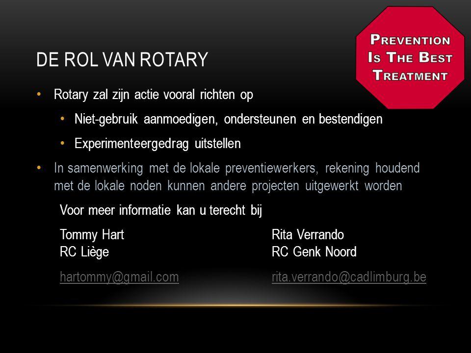 De rol van rotary Rotary zal zijn actie vooral richten op