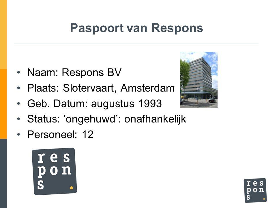 Paspoort van Respons Naam: Respons BV Plaats: Slotervaart, Amsterdam